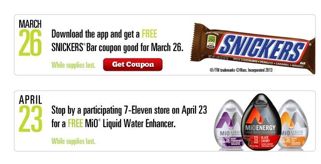 Free Snickers Bar & MiO Liquid Water Enhancer at 7-Eleven