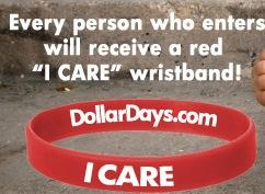 """Free Wristband """"DollarDays.com I Care"""""""