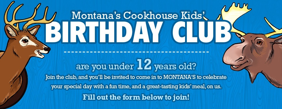 Free Kid's Meal at Montana's Cookhouse