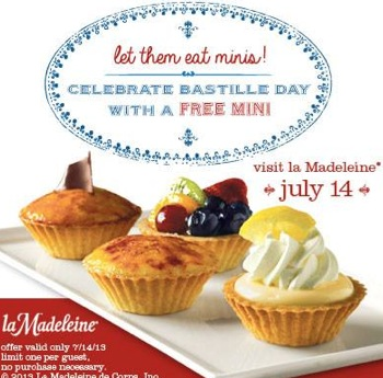 Free Mini Pastry, Parfait or Tart at la Madeleine Country French Cafe