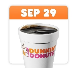 Free Medium Cup of Hot or Iced Coffee at Dunkin' Donuts (9/29)