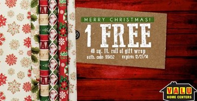 Free Roll Of Holiday Gift Wrap At Valu Home (fb)