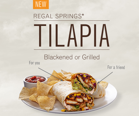 Free Regal Springs Tilapia Burrito at Rubio's