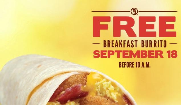 Free Breakfast Burrito at Taco John's (9/18)