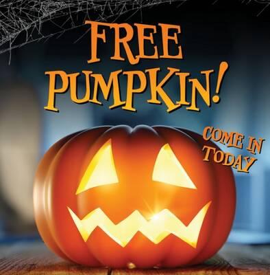 Free Pumpkins at RC Willey (10/19-20)