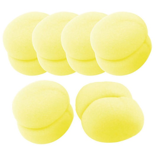 Free 6 Pcs Yellow Sponge Ball Hair Styler Curler Roller Tool