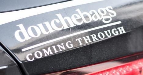 Free Douchebags Coming Through Sticker
