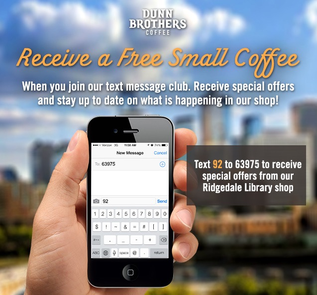 Free 12oz Coffee + $8 Credit at Dunn Brothers Coffee