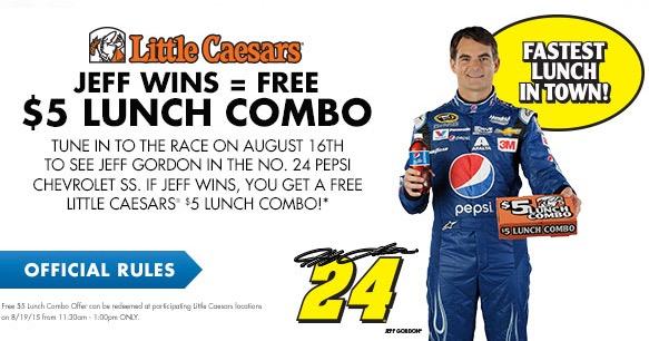 Free Little Caesars $5 HOT-N-READY Lunch Combo (If Jeff Gordon Wins)