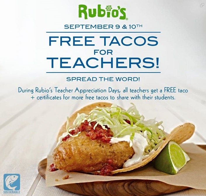 Free Tacos for Teachers at Rubio's (9/8)