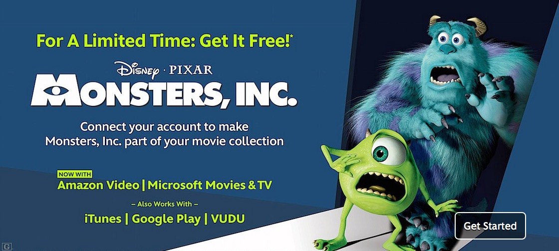 Free Disney Pixar Monsters, Inc Digital Movie