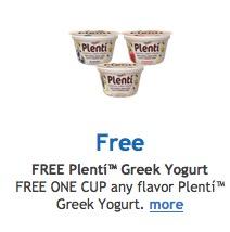 Free Plenti Greek Yogurt at Kroger & Affiliated Stores