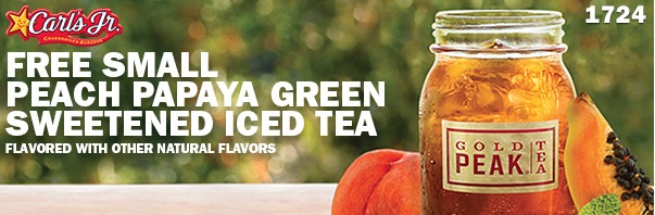 Free Small Peach Papaya Green Sweetened Iced Tea at Carl's Jr.