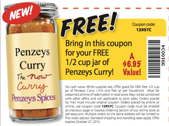 Free 1/2 Cup Jar of Penzeys Currey at Penzeys