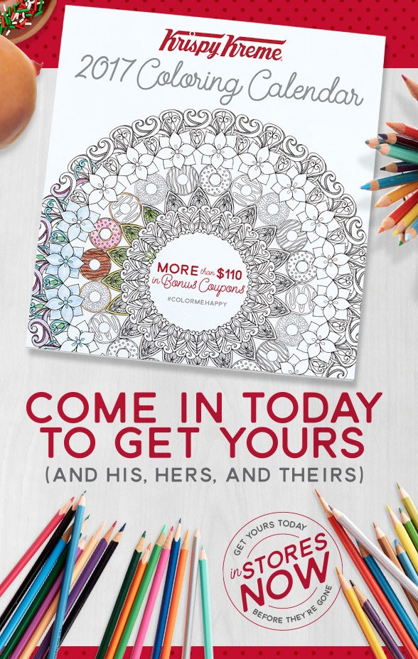 Krispy Kreme Calendar.Free Krispy Kreme 2017 Coloring Calendar
