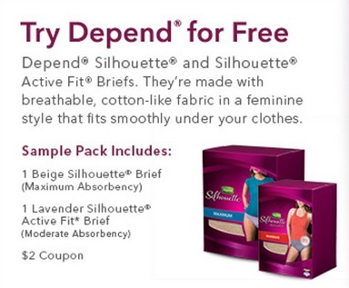 Free Depend Silhouette Active Fit Sample Pack