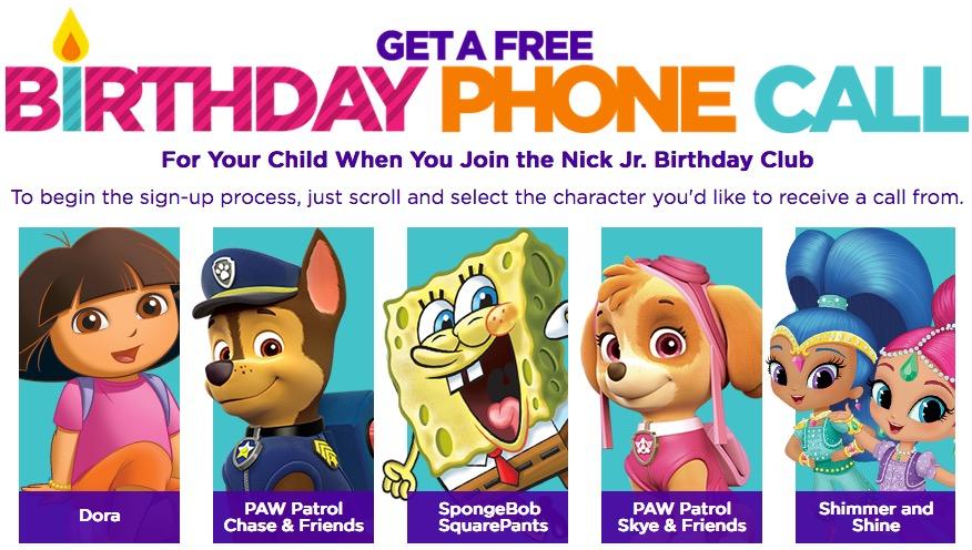 Free Nick Jr. Character Birthday Phone Call