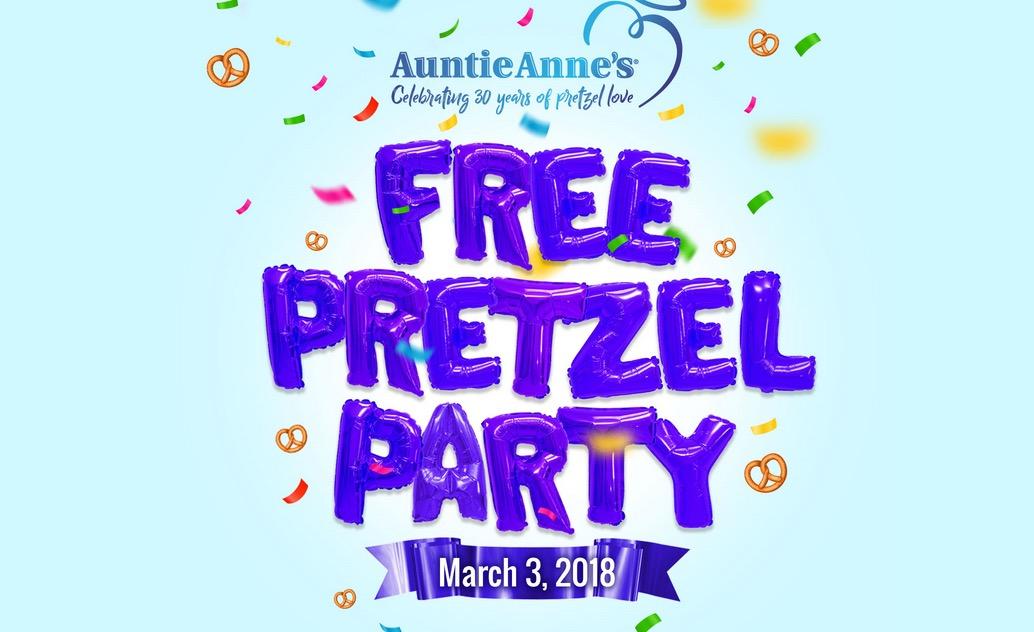 Free Original or Cinnamon Sugar Pretzel at Auntie Anne's (3/3)