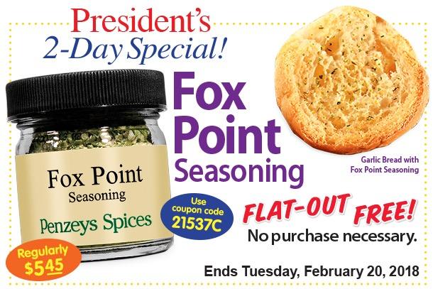 Free Fox Point Seasoning at Penzeys Spices