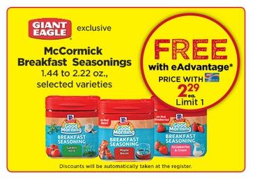 Free McCormick Breakfast Seasonings at Giant Eagle