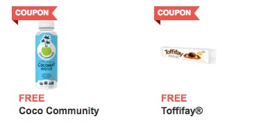 Free Bottle of Coco Community Coconut Water and Toffifay Stick Pack at Jewel-Osco