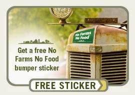 Free No Farms No Food Bumper Sticker