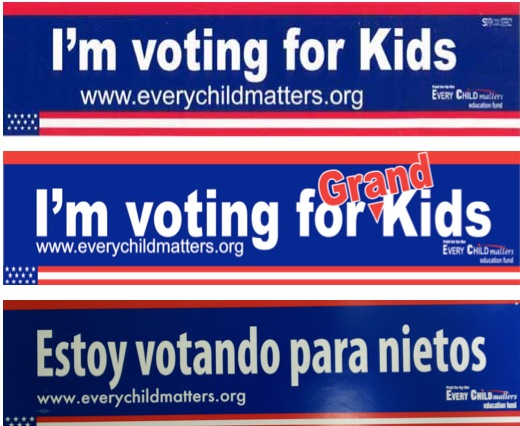 Free Stickers: I'm Voting for Kids or Grand Kids